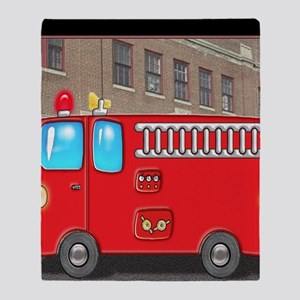Fire Engine at the Station Throw Blanket