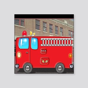 """Fire Engine at the Station Square Sticker 3"""" x 3"""""""