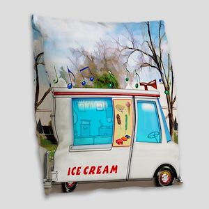 Ice Cream Truck in the Neighbo Burlap Throw Pillow