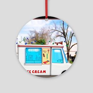 Ice Cream Truck in the Neighborhood Round Ornament
