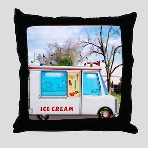 Ice Cream Truck in the Neighborhood Throw Pillow