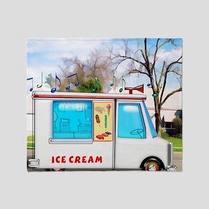 Ice Cream Truck in the Neighborhood Throw Blanket