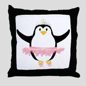 Ballerina Penguin Throw Pillow