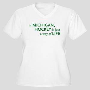 Michigan Hockey State Women's Plus Size V-Neck T-S
