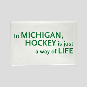 Michigan Hockey State Rectangle Magnet