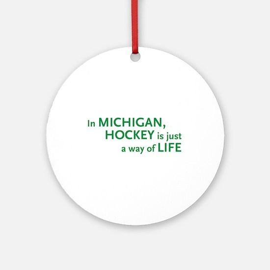 Michigan Hockey State Ornament (Round)