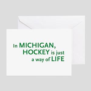 Michigan Hockey State Greeting Cards (Pk of 10