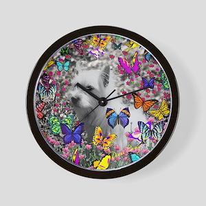Violet the White Westie in Butterflies  Wall Clock