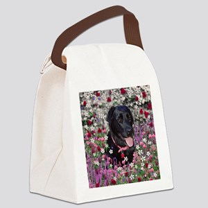 Abby the Black Labrador in Flower Canvas Lunch Bag