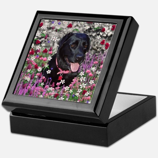 Abby the Black Labrador in Flowers Keepsake Box
