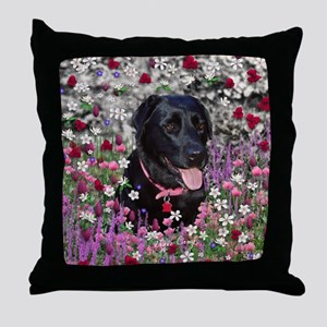 Abby the Black Labrador in Flowers Throw Pillow