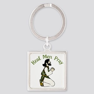 Real Men Pray Square Keychain