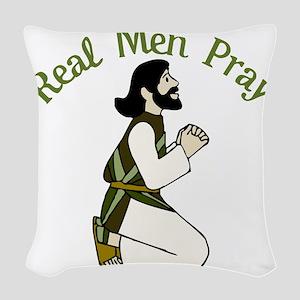 Real Men Pray Woven Throw Pillow