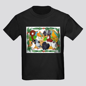 Christmas Pigeons Kids Dark T-Shirt
