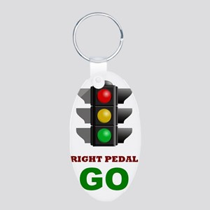 Traffic Light - GO Aluminum Oval Keychain