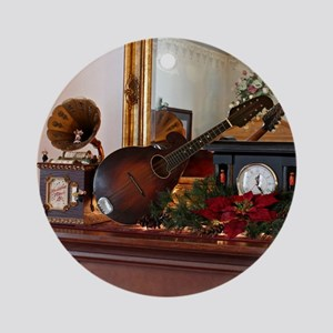 Mandolin on Mantle at Christmas Round Ornament