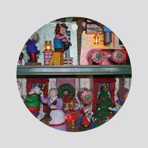 Santas Workshop with Mandolin Round Ornament