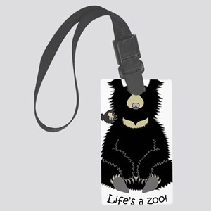 Sloth bear with cub Large Luggage Tag