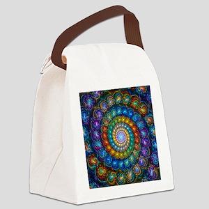 Fractal Spiral Beads Shirt Canvas Lunch Bag