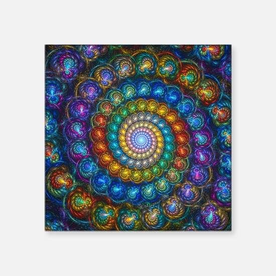 "Fractal Spiral Beads Shirt Square Sticker 3"" x 3"""