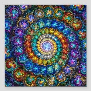 "Fractal Spiral Beads Shi Square Car Magnet 3"" x 3"""