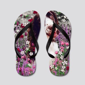 Lady the Brittany Spaniel in Flowers Flip Flops