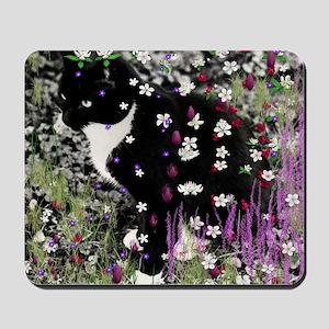 Freckles the Tux Kitten in Flowers I Mousepad