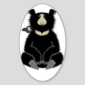Sloth Bear with Cub (dark) Sticker (Oval)