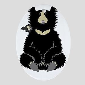 Sloth Bear with Cub (dark) Oval Ornament