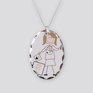 Female Audiologist Necklace Oval Charm