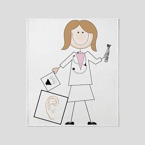 Female Audiologist Throw Blanket