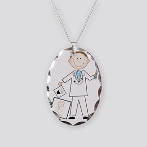 Male Audiologist Necklace Oval Charm