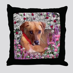 Trista the Rescue Dog in Flowers Throw Pillow