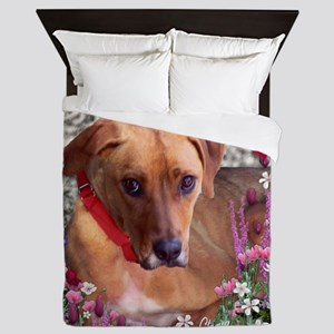 Trista the Rescue Dog in Flowers Queen Duvet
