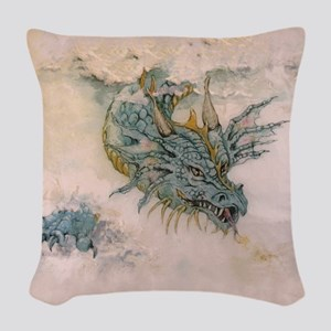 Blue Dragon In The Mist Woven Throw Pillow