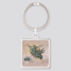 Blue Dragon In The Mist Square Keychain