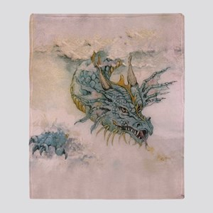 Blue Dragon In The Mist Throw Blanket