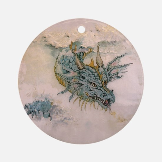 Blue Dragon In The Mist Round Ornament