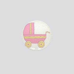 Pink and Yellow Stroller. Mini Button