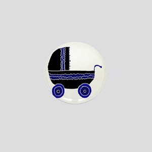 Black and Blue Stroller. Mini Button