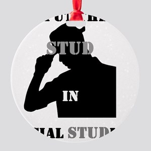 I put the Stud in Social STUDies Round Ornament