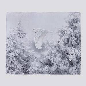 Snowy Owl in Blizzard Throw Blanket