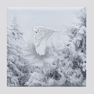 Snowy Owl in Blizzard Tile Coaster