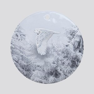Snowy Owl in Blizzard Round Ornament