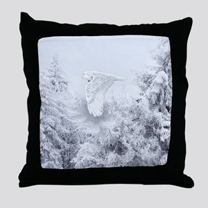 Snowy Owl in Blizzard Throw Pillow