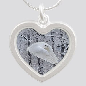 Snowy Owl, Praying Wings Silver Heart Necklace