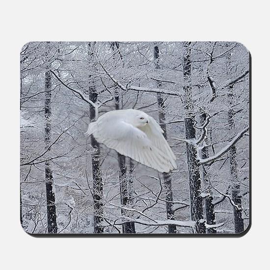 Snowy Owl, Praying Wings Mousepad