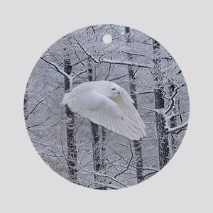 Snowy Owl, Praying Wings Round Ornament