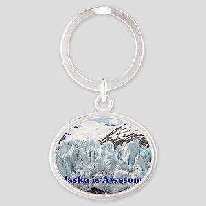 Alaska is Awesome: Portage Glacier,  Oval Keychain