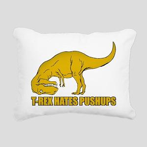 T-rex Hares Pushups Rectangular Canvas Pillow